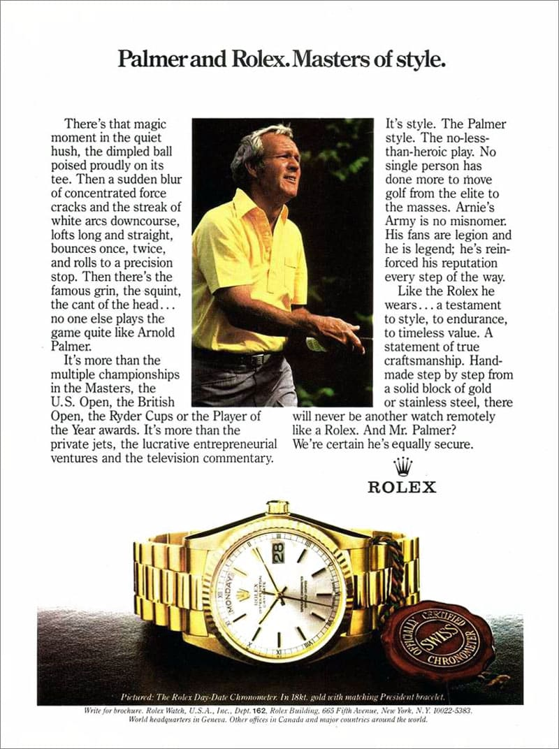 1982 Rolex Day-Date Advertisement with Arnold Palmer.