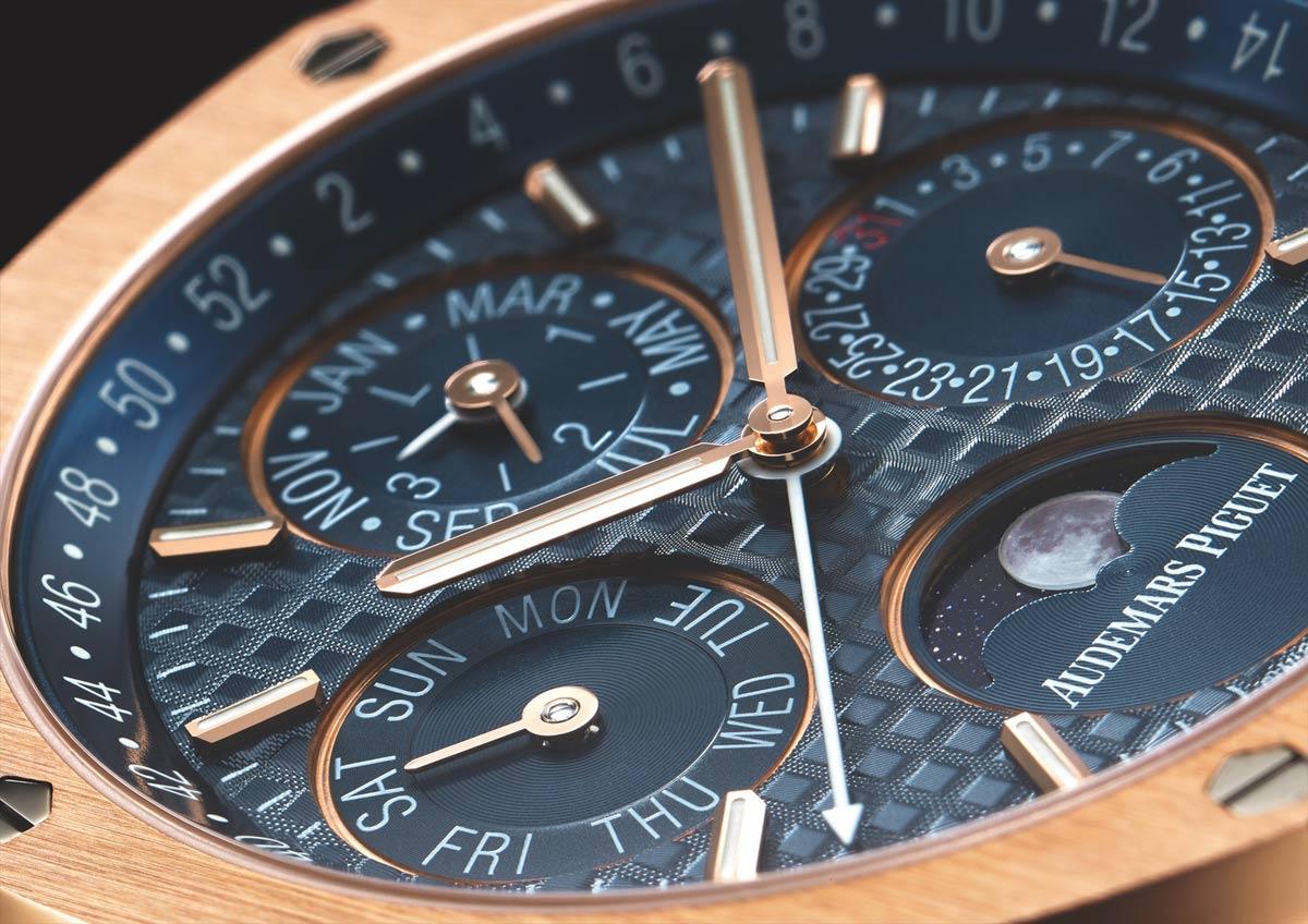 Audemars Piguet Royal Oak Perpetual Calendar-ref-26574-rose-gold-case-blue-dial-detail-perpetuelle